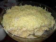 24 hodinový vrstvený salát s ananasem a mandarinkami Grains, Dairy, Rice, Cheese, Food, Fitness, Pineapple, Essen, Meals