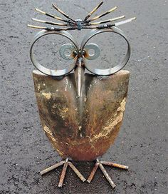 Owl made with shovel head and metal -12 Delightful Garden Decor Ideas | eBay