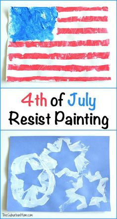 4th of July Resist Painting Kids Craft. (You will be surprised what we used as a resist for this easy craft with a quick clean up!)
