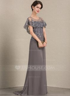 A-Line/Princess Scoop Neck Sweep Train Chiffon Lace Mother of the Bride Dress - Mother of the Bride Dresses - JJ's House Mob Dresses, Trendy Dresses, Elegant Dresses, Fashion Dresses, Bridesmaid Dresses, Wedding Party Dresses, Bride Dresses, Mother Of The Bride Gown, Mother Of Groom Dresses