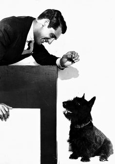 """""""Paramount publicity still of Cary Grant and a Scottish Terrier, early 1930s."""""""