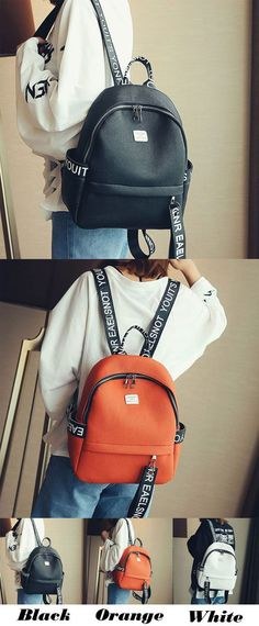 Simple PU Letters Pure Color Lichee Pattern Girl's School Backpack for big sale! #school #college #student #Bag #FashionBackpacks
