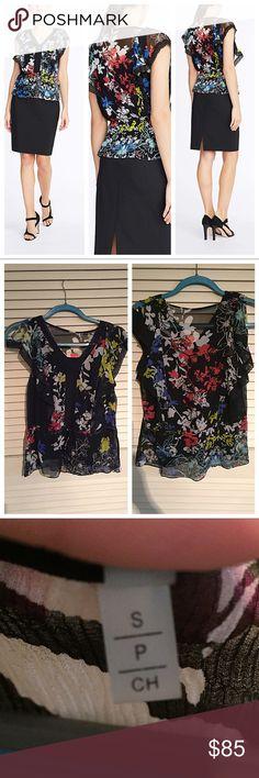Elie Tahari floral top Elie Tahari Women's Multicolor Cece Blouse In Black Floral Chiffon. In perfect condition. Elie Tahari Tops