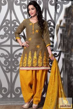 Online shopping ethnic wear olive gold casual formal cotton punjabi suit for ladies in low cost. Simple and normal women patiala salwar kameez only at pavitraa.in. #salwarsuit, #casualdress more: http://www.pavitraa.in/store/patiala-salwar-suit/