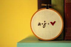 a + j = love #embroidery #hoop