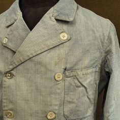 French vintage indigo checked work jacket #frenchvintage #indigo #workwear