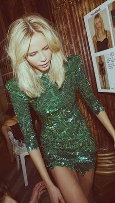 Asos needle & thread sequin embellished green bodycon ornate sleeve dress uk8