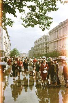 1950, Moscow, rain, vintage, street fashion, life