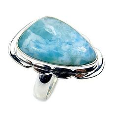 Fabulous Sterling Silver Natural Dominican Larimar Ring, Size 6.75