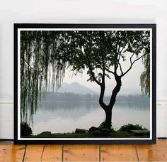 Tree Photo, Lake Print, Weeping Tree, Scandinavian Print, Tree Art, Black And…