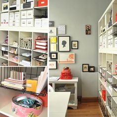 a well organized office with greys and oranges