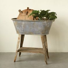 Galvanized Wash Tub On Rustic Wood Stand