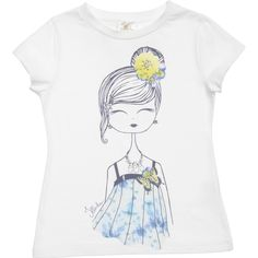 Girls white short sleeved t-shirt from Illudia made from a super soft cotton and modal blend jersey. On the front is a print of a girl with blue and yellow pansies and diamante embellishment. <br /> <ul> <li>45% cotton, 45% modal, 10% elastane (soft jersey feel)</li> <li>Machine wash (30*C)</li> <li>Made in Italy</li> </ul>