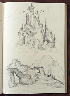 sketchbook | Tumblr Landscape Sketch, Landscape Drawings, Landscapes, Sketchbook Tumblr, Art Sketchbook, Drawing Sketches, Art Drawings, Mountain Drawing, Nature Sketch