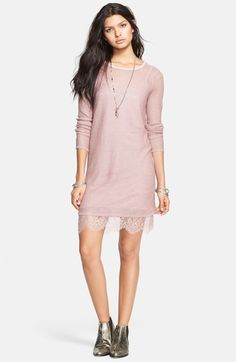 Free People 'Jane Eyre' Lace Trim Sweater Dress available at #Nordstrom