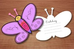Crafting template and instruction for butterfly birthday party invitation - Schmetterling Butterfly Birthday Party, Birthday Tags, Birthday Parties, Retirement Party Invitations, Birthday Invitations, Kids Birthday Crafts, How To Make Invitations, Butterfly Invitations, Craft Free