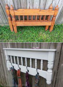 Make a DIY coat rack out of a repurposed bunk bed