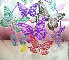 """Купить Тарелка """"Бабочки"""" - тарелка, посуда, новый год 2013, новогодний подарок, новогодний сувенир"""