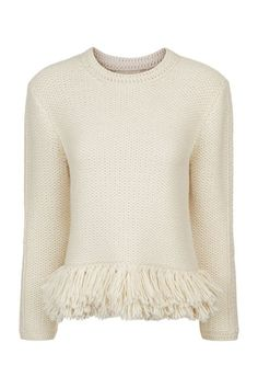 This white, fringed sweater is making me wish for Fall weather. Vanessa Bruno Knitted Fringe Jumper. Shop now: http://fave.co/2bsZZki