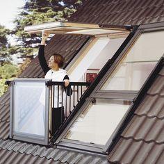Skylight Window Easily Transforms into Rooftop Balcony Cabrio designed by Velux transforms a skylight into a small balcony by simply opening its frame.Cabrio designed by Velux transforms a skylight into a small balcony by simply opening its frame. Skylight Window, Balcony Window, Attic Window, Roof Window, Roof Balcony, Skylight Bedroom, Glass Balcony, Tiny Balcony, Attic Renovation