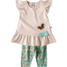 Conjunto de Bebê Menina Borboleta Bege - Brandili :: 764 Kids | Roupa bebê e infantil