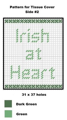 One day a year everyone is Irish at heart! This cute little Free Plastic Canvas Pattern for a St. Patrick's Day themed tissue box cover works up quickly. Plastic Canvas Tissue Boxes, Plastic Canvas Crafts, Plastic Canvas Patterns, Needlepoint Patterns, Cross Stitch Patterns, St Patricks Day, St Pattys, Box Patterns, Crochet Quilt