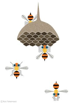 Illustration by Ryo Takemasa Art And Illustration, Graphic Design Illustration, Graphic Art, Illustrator, Bee Art, Insect Art, Arte Popular, Bees Knees, Wabi Sabi