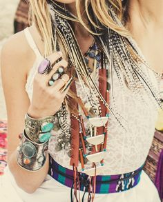 Modern hippie style layered jewelry, boho chic fashion rings & stacked bracelets, bangles, & cuffs. For the BEST Bohemian trends with a gypsy allure FOLLOW >>> http://www.pinterest.com/happygolicky/the-best-boho-chic-fashion-bohemian-jewelry-gypsy-/
