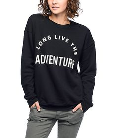 It's all play and no work with this Long Live Adventure black crew neck sweatshirt from Wish You Were Northwest. A super soft and cozy interior paired with an arching graphic will keep your adventure seeking personality at the forefront of your life. Easy