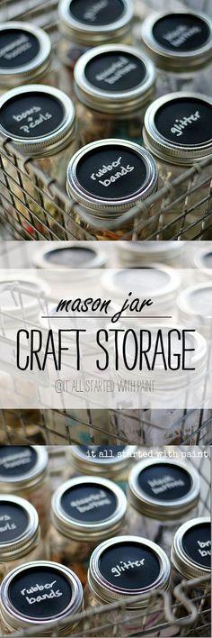 Mason Jar Storage - Craft Storage Ideas with Mason Jars   - Chalkboard Paint @iaswp