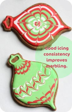 Christmas cookie decorating tips! @Tiffany Stupack our mission, should you choose to accept... marble the icing on cookies.