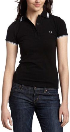 Fred Perry Women's Polo,Black/White,10 Fred Perry. $69.00