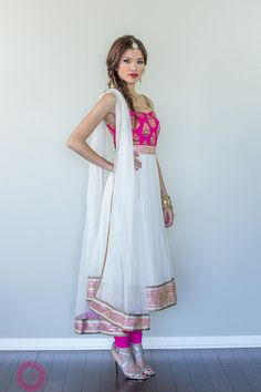 Pink and white anarkali suit
