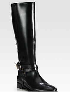 Burberry leather knee-high riding boots. TopShelfClothes.com