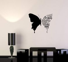 Wall pictures Wall Decal Butterfly Phrases Words Beautiful Quote Vinyl Sticker Unique Gift S Simple Wall Paintings, Creative Wall Painting, Wall Painting Decor, Creative Wall Decor, Unique Wall Decor, Creative Walls, Diy Wall Art, Diy Wall Decor, Wall Art Designs