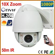 In stock, PTZ Camera IP 1080p Mini Outdoor IP CAMERA 10X Optical Zoom IR High Speed Dome CCTV Cameras Pan Tilt