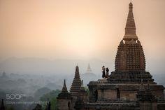 Pagoda landscape in the plain of Bagan Myanmar (Burma) by Sirisak