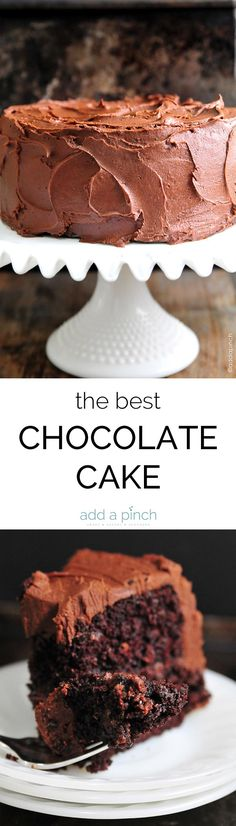 The Best Chocolate Cake Recipe Ever. The Best Chocolate Cake recipe with decadent Chocolate Buttercream Frosting that will quickly become your favorite! // https://addapinch.com