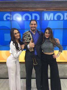 Roman with the Bellas on GMA Wrestling Superstars, Wrestling Divas, Bella Sisters, Wwe Total Divas, Nikki And Brie Bella, Best Wrestlers, Nicole Garcia, Wwe Wallpaper, Wwe Roman Reigns