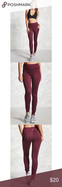 """Active Mesh-Pocket Leggings Ordered these from Forever 21, brand new w/ tags attached! Can't find the receipt so just selling on Posh :) 40% Polyester, 45% nylon, 15% spandex. Inseam is 28"""" and waist is 26"""" pretty burgundy color! Forever 21 Pants Leggings"""