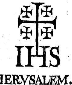 "The Cross of Jerusalem, or ""Crusaders' Cross"", remembers the Five Wounds through its five crosses. Participants in the Crusades would often wear the Jerusalem cross, an emblem representing the Holy Wounds; a version is still in use today in the flag of Georgia."