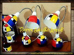 Luminárias de garrafa PET. Inspiradas no estilo Mondrian.