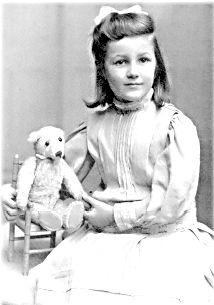 French Edwardian girl with her teddy bear