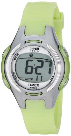 Timex Women's T5K081 1440 Digital Watch with Light-Green Resin Strap