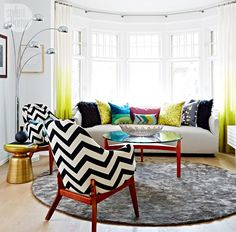Home tour: Colourful living room with chartreuse ombre drapery {PHOTO: Stacey Brandford}