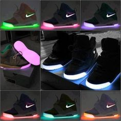 7762cc3dd3d8 shoes neon pink purple nike black light nike lights glow glow in the dark  sneakers yeezy skate shoes