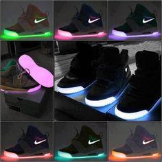 shoes neon pink purple nike black light nike lights glow glow in the dark sneakers yeezy skate shoes