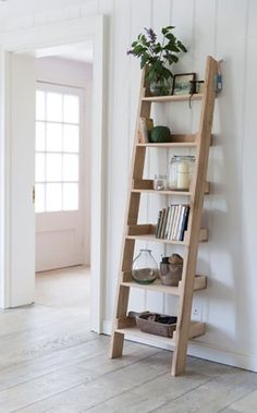 DIY, shelves, home decor, interior design Leaning Ladder Shelf, Ladder Shelf Diy, Ladder Bookshelf, Diy Wood Shelves, Small Bookshelf, Room Shelves, Ladder Decor, Bookshelf Design, Corner Shelves