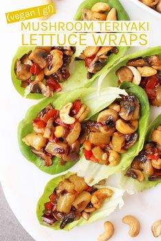 mushroom recipes Vegan Lettuce Wraps with Mushroom Teriyaki for the perfect plant based, gluten free appetizer or side dish. Made in just 20 minutes for an easy recipe that everyone will love. via mydarlingvegan Vegan Dinner Recipes, Vegan Dinners, Vegetarian Recipes, Healthy Recipes, Vegan Vegetarian, Vegetarian Mushroom Recipes, Salad Recipes, Clean Eating Vegan, Healthy Eating Tips