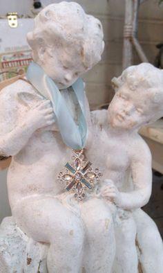 Adorable Sweet Boy and Girl Chalkware Statue